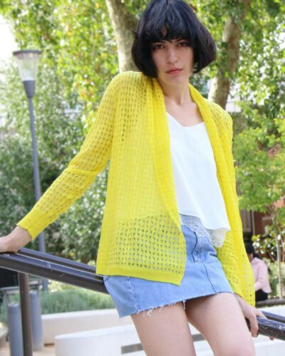 Lace Crochet Blue Yellow Orange Navy color Cardigan top Beach Holiday Wear