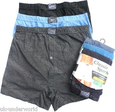 6 Pairs Mens Classic Sports Plain Jersey Boxer Shorts Briefs Adults Underwear