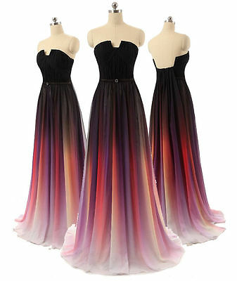 Rainbow Long Chiffon Evening Prom Gown New Formal Wedding Pageant Party Dresses
