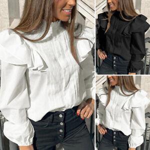 Mode-Femme-Coton-Manche-Longue-Plisse-Texture-Confor-Ample-Chemise-Tops-Haut