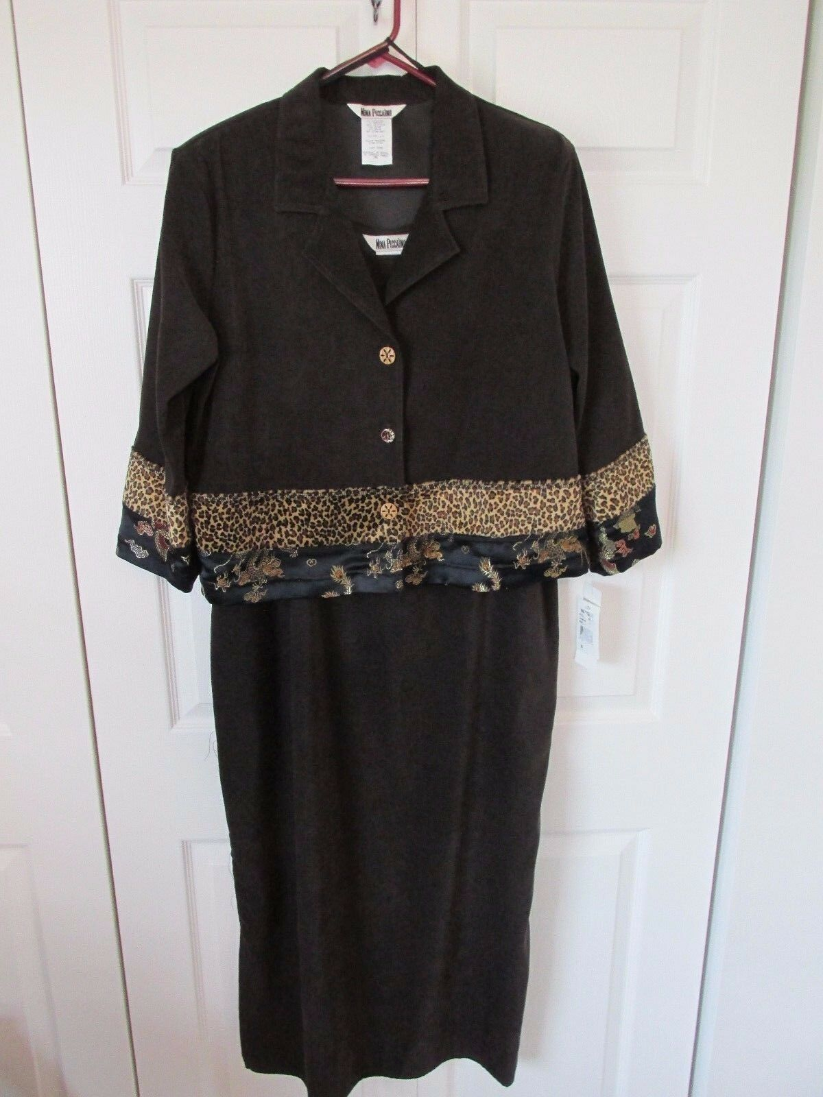 NINA PICCALINO braun Sleeveless Dress 3 4 Sleeve Top Animal Asian Print 14 NWT