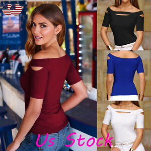 10bf77d6d22174 Womens Sexy Cut Cold Shoulder Short Sleeve Slim Blouse Tops T-Shirt ...