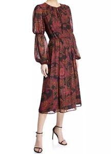 Maggy-London-Women-s-Tie-Paisley-Keyhole-Midi-Dress-Size-8