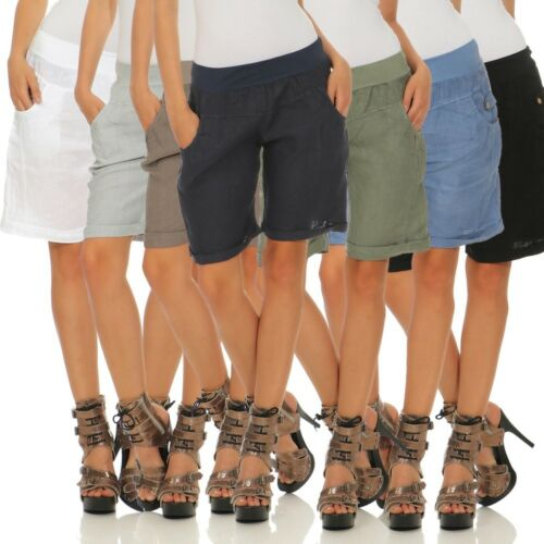 Damen Shorts aus Leinen 100 /% Bermuda lässige kurze Hose Pants Capri Sommerhose