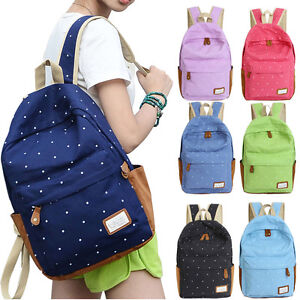 Women Double-Shoulder Bags Girls Dots Canvas Schoolbag Trendy ...