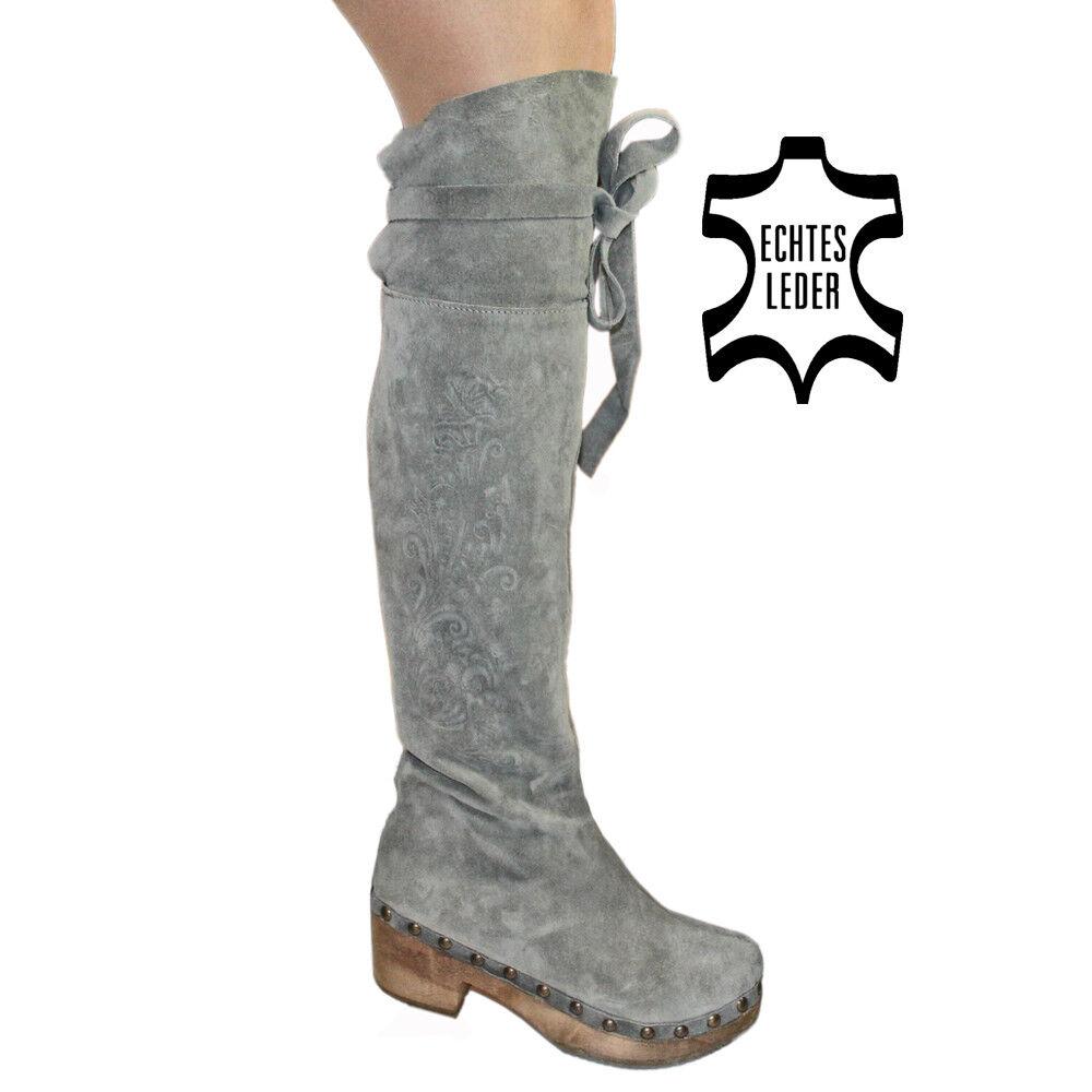 XUZ Clogs 38,5 Gr.38 NEUWERTIG Overknee Stiefel Nieten Leder