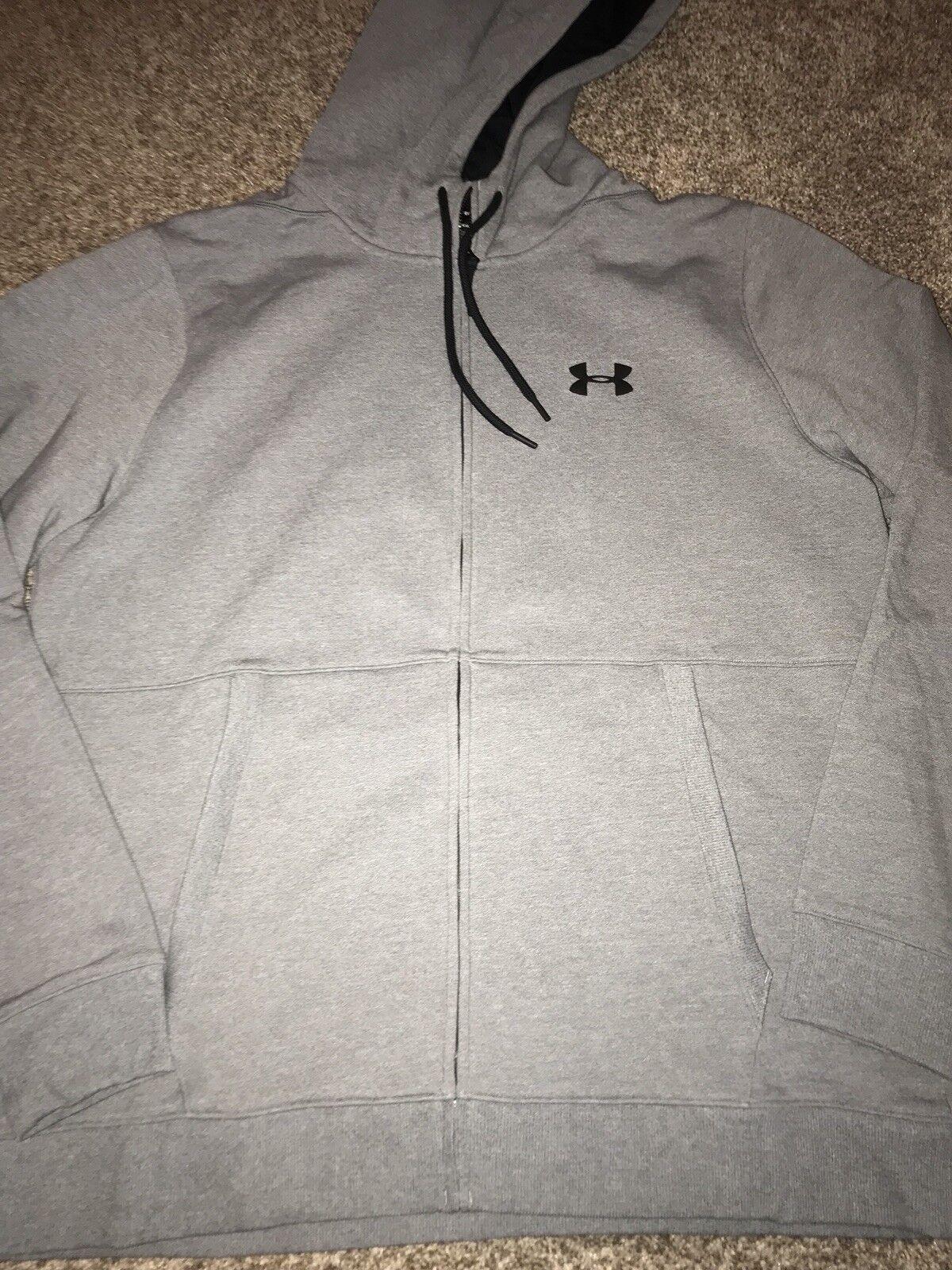 Under Zip Armour Threadborne Fleece Full Zip Under Hoodie Sweatshirt XXL grau 8de73a