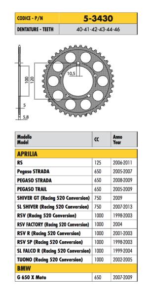 5-3430 Corona Ergal Passo 520 Aprilia 750 Shiver Gt (racing 520 Conversion) 2009 Ruime Levering En Snelle Levering