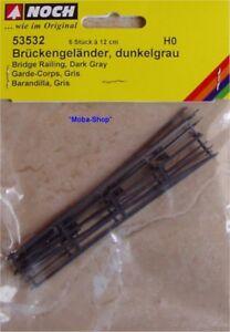 NOCH-53532-H0-Brueckengelaender-dunkelgrau-6-St-a-12cm-54512