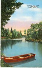 ALPENA,MICHIGAN-THUNDER BAY RIVER AT LONG RAPIDS-LINEN-#10(MICH-A*)