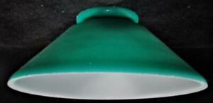 Antique-Slant-Industrial-Pendant-Lamp-Shade-3-1-4-034-Rim-Opal-Glass-Painted-Green
