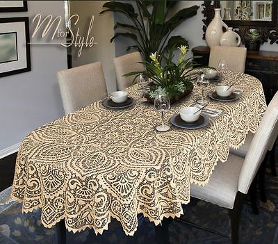 Oval Round Lace Tablecloth White or Beige Large Premium Quality