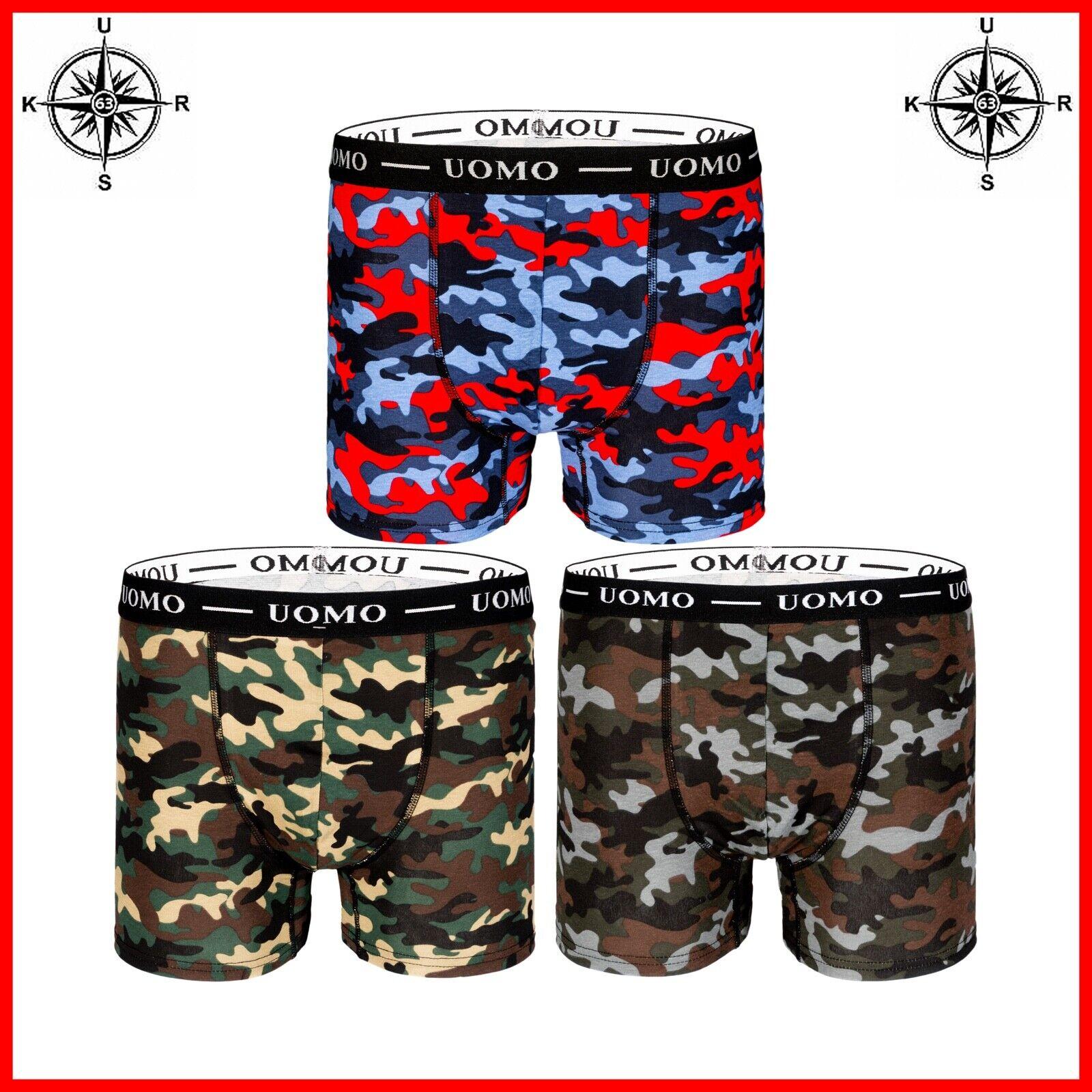 3-6er Pack UOMO Herren Boxershorts Camouflage Unterhose Unterwäsche M - 4XL