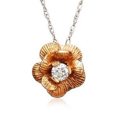 Nuova 14K oro oro oro rosa Effetto Diamante Fiore Collana con Ciondolo 18   Catenina 4ee458
