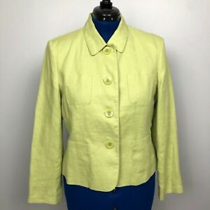 Talbots-Irish-Linen-Women-039-s-Size-14P-Green-Button-Down-Collared-Jacket