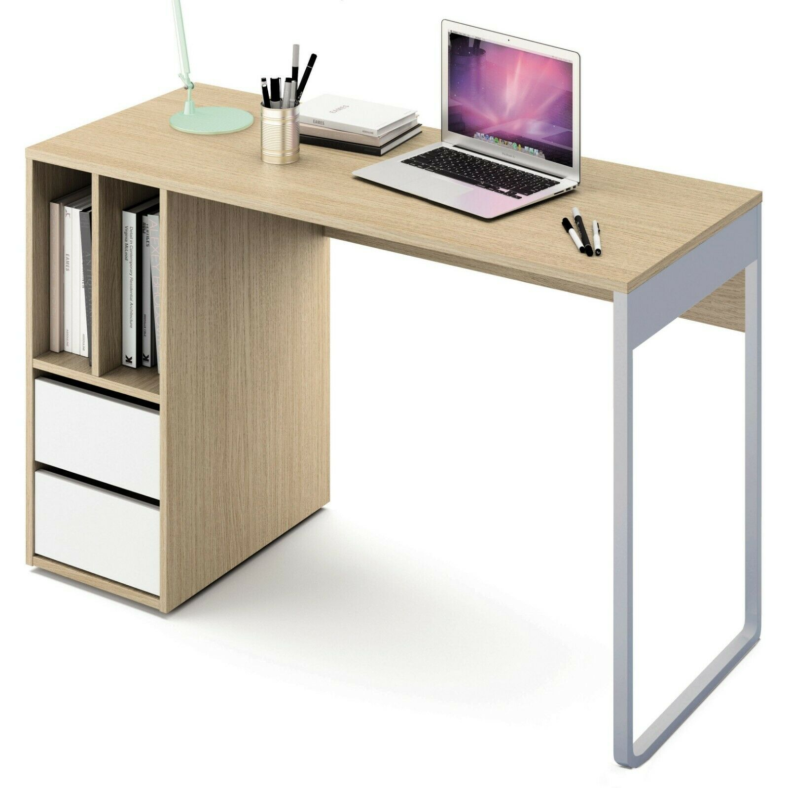Mesa de ordenador escritorio de estudio con pata metalica color roble y...
