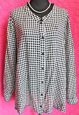 ULLA POPKEN B&W Check Cotton Blouse Tunic Top Long Sleeve Shirt 32 34 Relax Fit