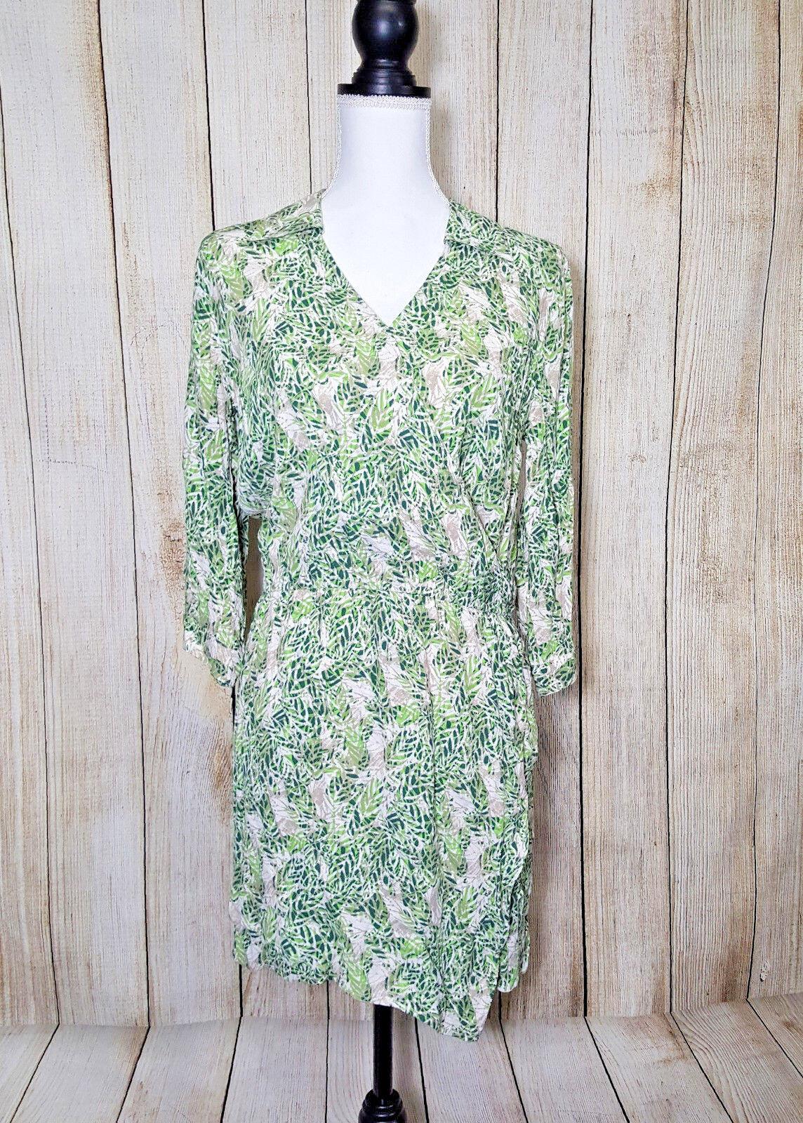 Cabi Womens Dress Faux Wrap Collared Elastic Waist Leaf Print Green Size Small