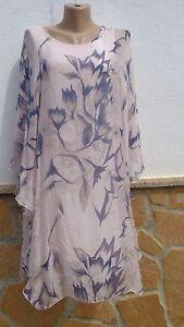 Italy Lagenlook Kleid Tunika Empire Boho Blumen SEIDE ...