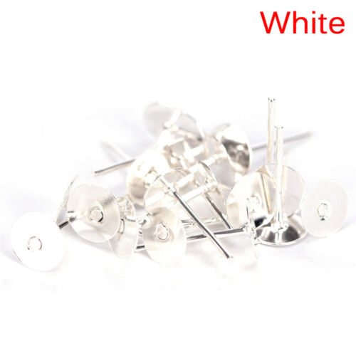 200PCS 6mm Flat Pad Blank Base Stud Earring DIY Jewelry Making Findings KI