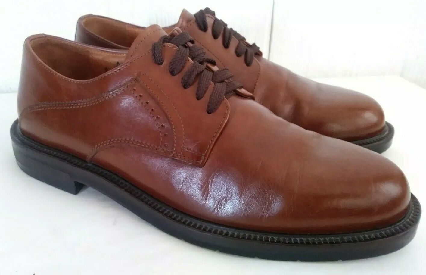 Men's Johnston & Murphy Passport Lace Up Oxfords Brown Leather US Size 9 M