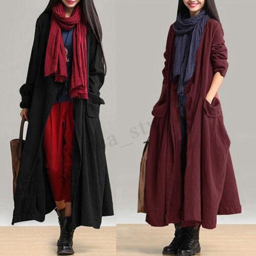 lunga Giacche lunghe da maniche donna in vintage manica cotone donna da a con Uk zqrzYx
