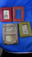 lot de 4 anciens petits cadres porte photo en velour  epoque 1900