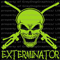 Exterminator Skull Vinyl Decal Pest Control  Decals Stickers for Auto Car