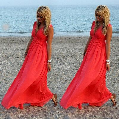 New Womens Ladies Boho Sexy Summer Beach Evening Party Long Maxi Chiffon Dress