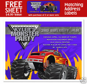 Details About 8 Monster Truck Birthday Party Personalized Invitations