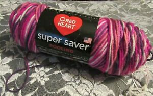 NEW-RED-HEART-SUPER-SAVER-Berry-Pooling-Pink-Red-Medium-Yarn-141g-Acrylic-USA