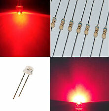10 diodi led 5 mm ROSSO STRAW HAT 170° alta luminosità 4,8 mm + RESISTENZE