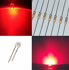 1-000-diodi-led-5-mm-ROSSO-STRAW-HAT-170-alta-luminosita-4-8-mm-RESISTENZE