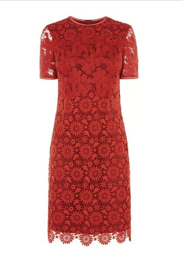 KAREN MILLEN RED FRENCH CUTWORK LACE DRESS WITH WINE LINING UK 8 NEW