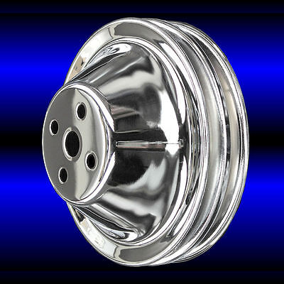 SB Chevy Short Water Pump Chrome Steel 2 Groove Pulley Kit 283 327 350 V8