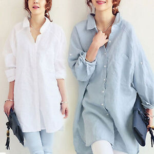6f1fca57b0f New Women s Cotton linen Shirt Tops Long Sleeve Loose Baggy Blouse ...