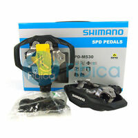 New Shimano PD-M530 SPD MTB Trail MTB Clipless Pedals with Cleats Black