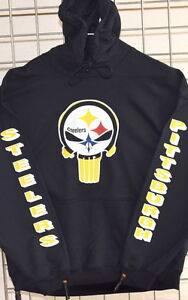 purchase cheap 4b797 64365 Details about Pittsburgh STEELERS, PUNISHER Black HOODIE, S, M, L, XL, 2XL,  3XL, 4XL, 5XL