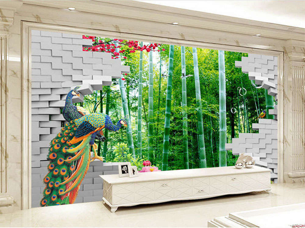 Harmonious Tranquil Bamboo Grove 3D Full Wall Mural Photo Wallpaper Printing Hom