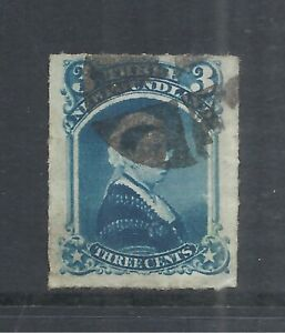 NEWFOUNDLAND SCOTT 39 USED VF - 1877 3c BLUE ROULETTED ISSUE   CV $15.00