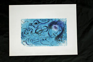 Marc Chagall 'The Flute Player Original Lithograph, Blue, Not Signed, Very Rare