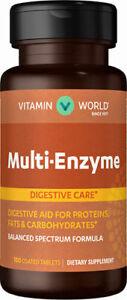 Vitamin World® Multi-Enzyme Formula - Digestive Care - 100 Coated Tablets
