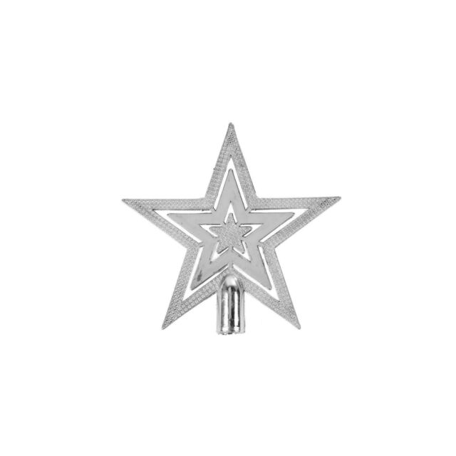 Mini 10cm Silver Shiny Embossed Star Christmas Tree Topper Decoration