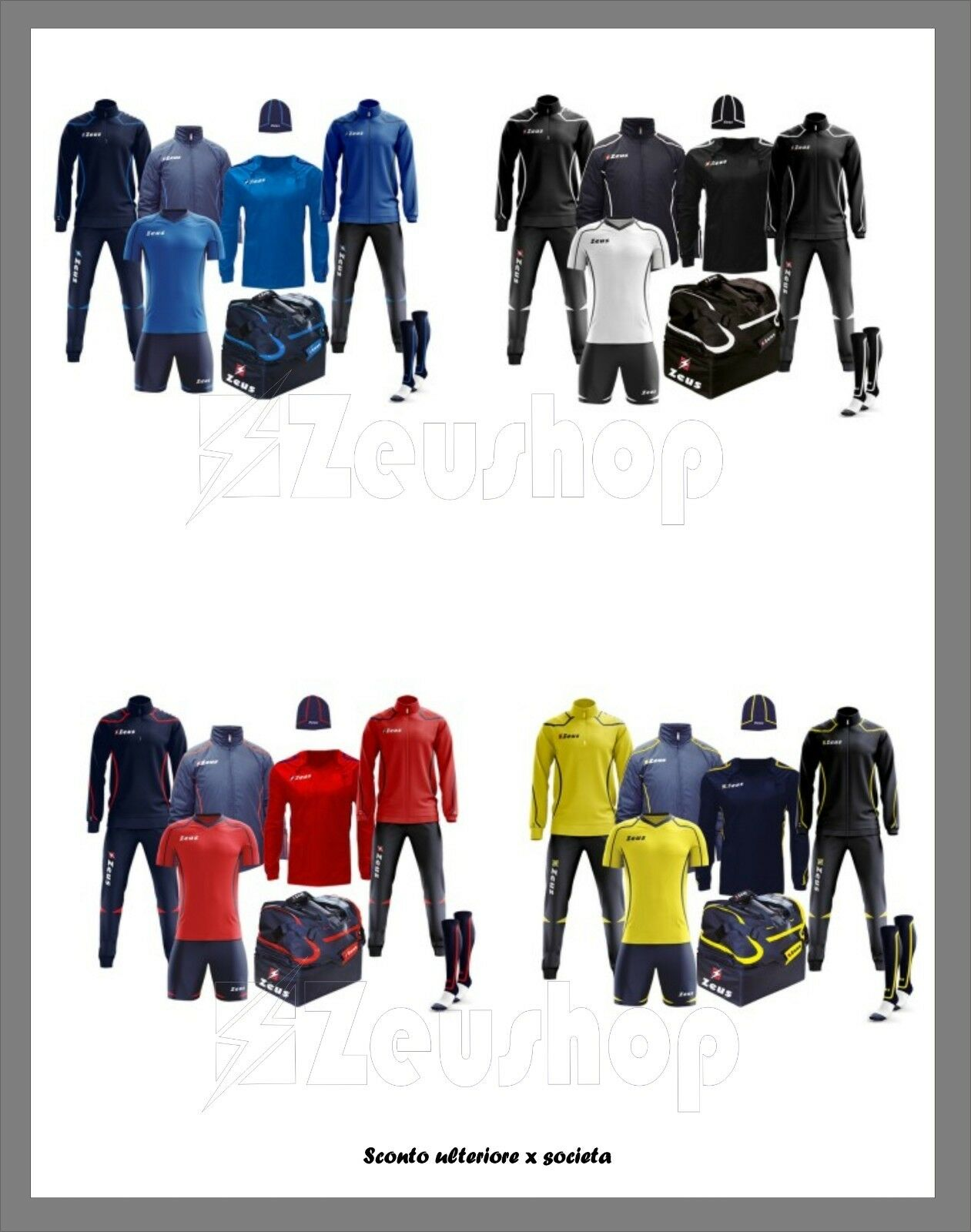 Box Fauno Zeus Calcio Calcetto Volley Kit Tuta Borsone Borsone Borsone Muta Set Sport K-way 8pz c2d539
