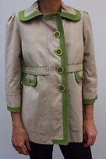 Juicy Couture Beige Green Trim Swing Pea Coat Trench Mac jacket M 12 40 New