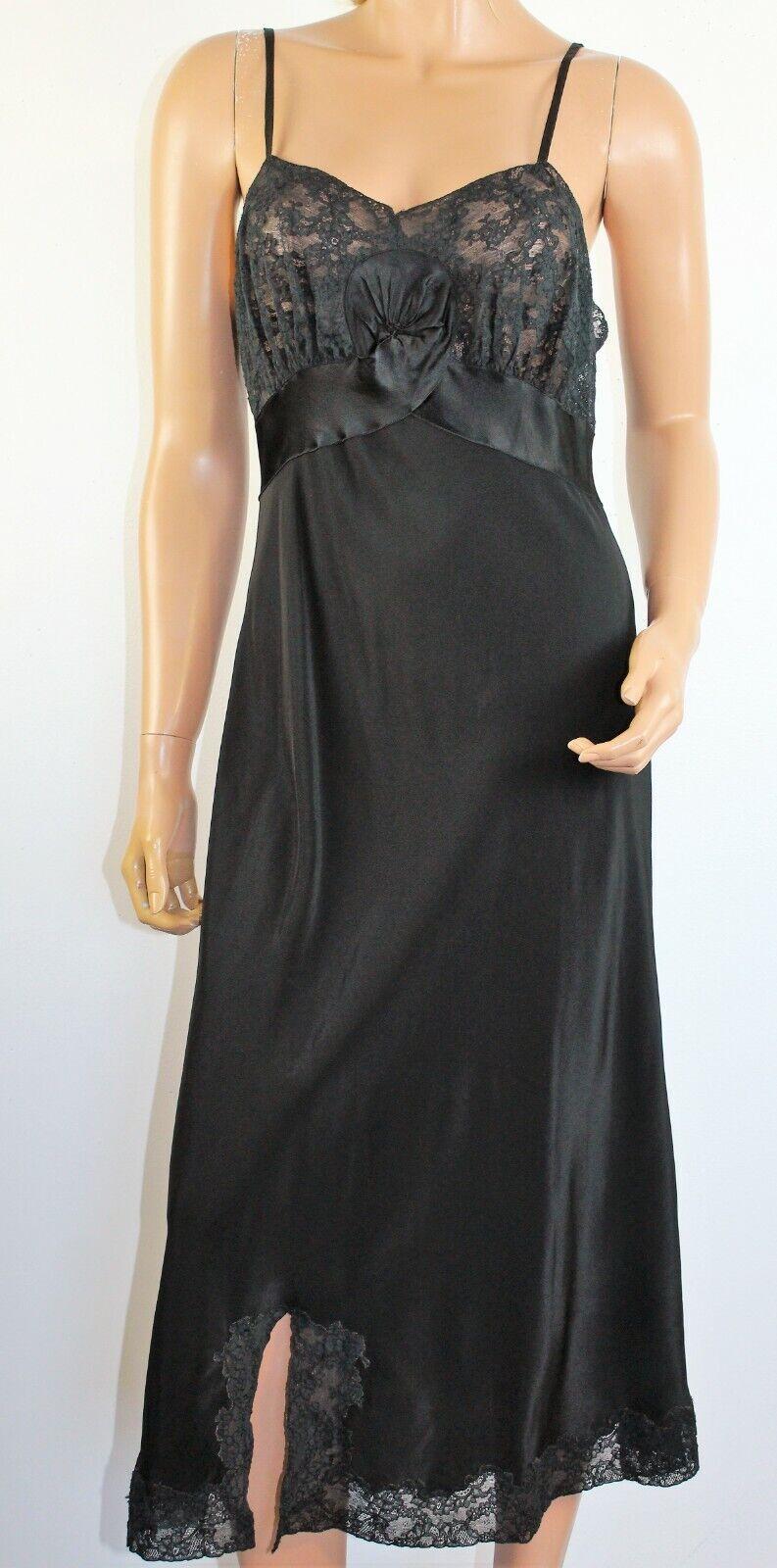 Vintage 1940's NAT LEWIS Black Silky Rayon Lace T… - image 2