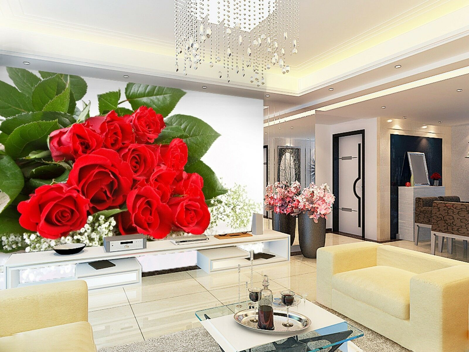 3D ROT rose bouquet Wall Paper Print Decal Wall Deco Indoor wall Mural