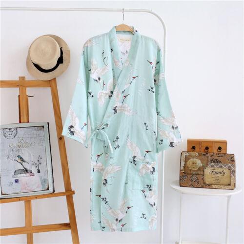 Neu Chinesisch Japanisch Cranes Grün Damen Kimono Bademantel Bademantel Ladpj115