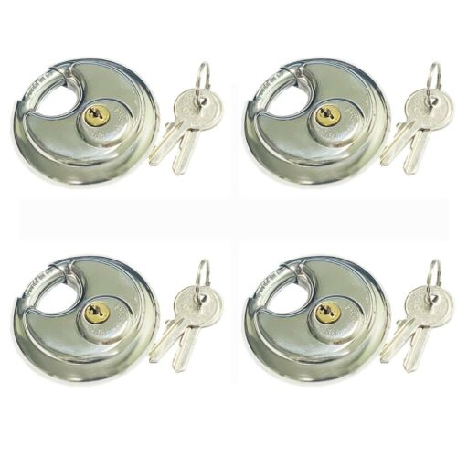 """70mm Lot of 4 Stainless Steel Shrouded Shackle 2 ¾"""" Round Disc Pad Lock"""