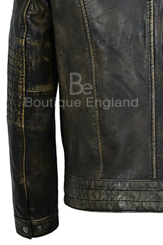 Fielder Cuir Black 100 Jacket Mens Distresed Fashion Biker nvqFBqaR1
